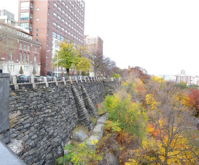 The edge of Columbia University's campus and Morningside Park in New York City.