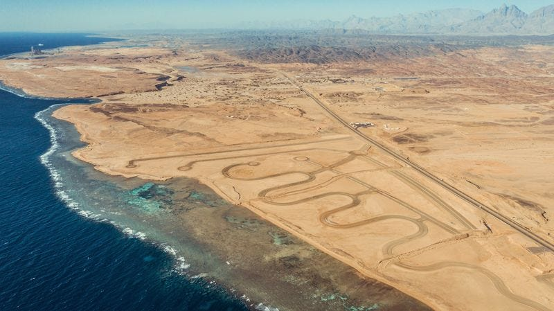 Land set aside for a hydrogen plant and the wind and solar farms to power it in Neom, Saudi Arabia.