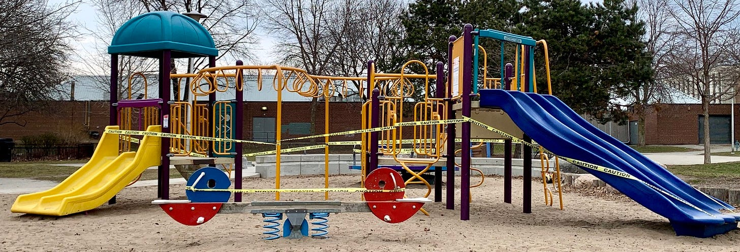 A Toronto playground covered in caution tape