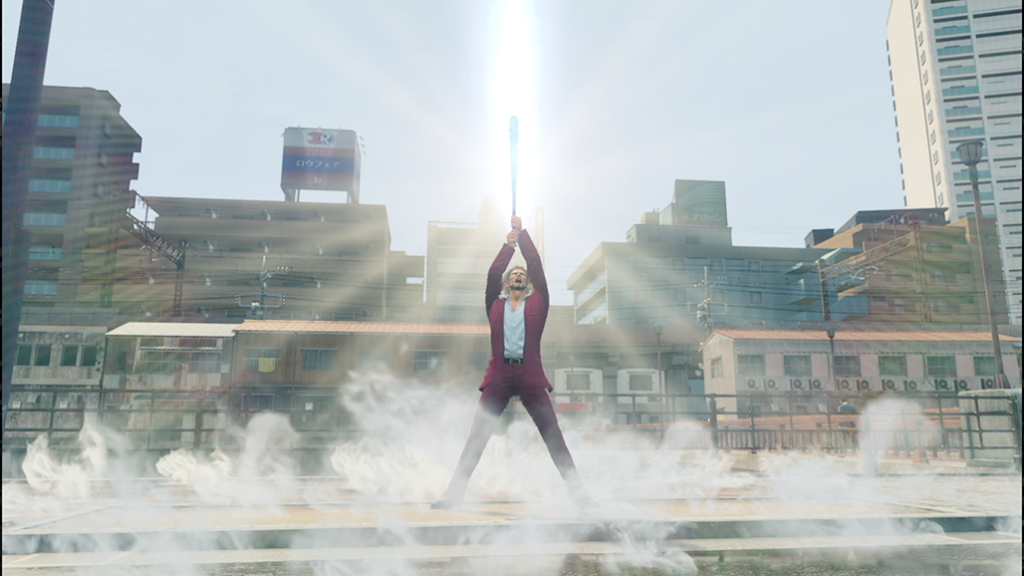 Ichiban holding a glowing weapon above his head in the sun while fog swirls around his ankles