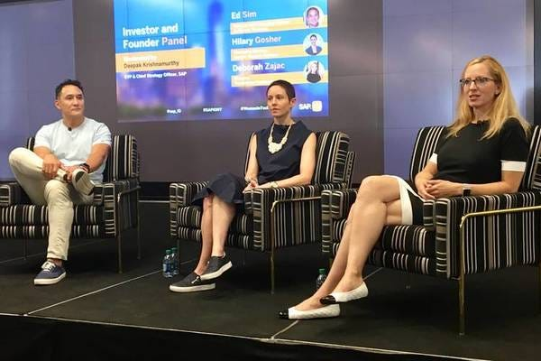 Ed Sim, Boldstart Ventures, Hilary Gosher, MD Insight Venture Partners, Deborah Zajac, director of Touchdown Ventures, speak at an event in New York, AUg. 14, 2018. PHOTO: SARA CASTELLANOS THE WALL STREET JOURNAL