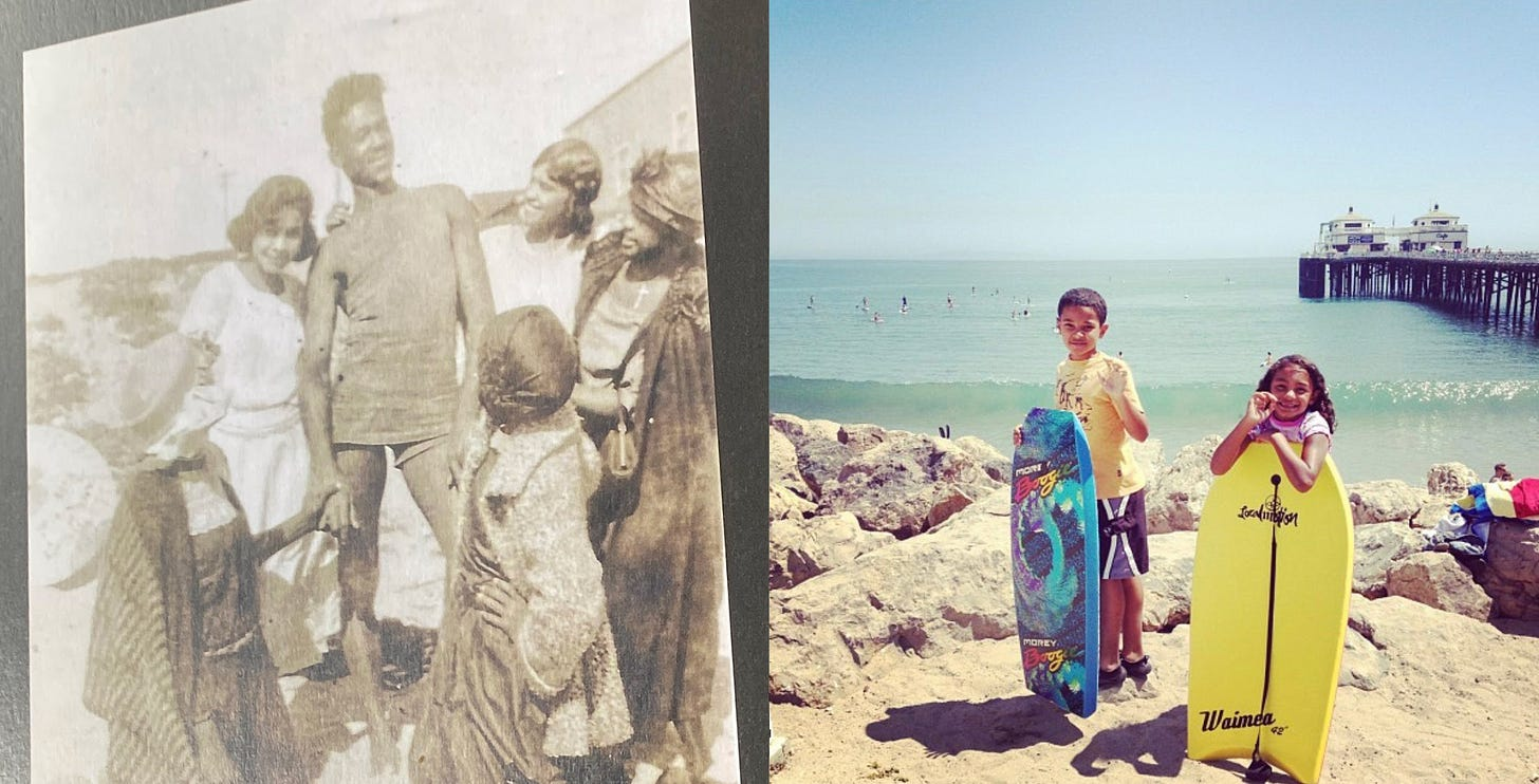 two photos of Kamal's family, one in black and white and one in color from her childhood