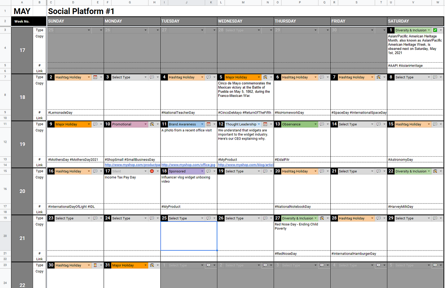 One Month Calendar View