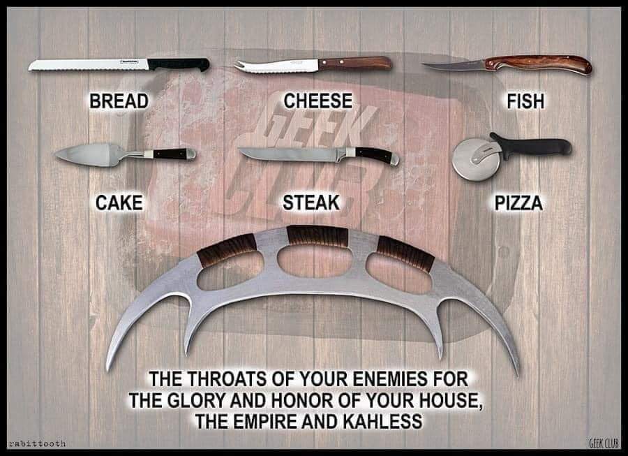 May be an image of text that says 'BREAD CHEESE 72E FISH CAKE STEAK PIZZA rabittooth THE THROATS OF YOUR ENEMIES FOR THE GLORY AND HONOR OF YOUR HOUSE, THE EMPIRE AND KAHLESS GEEK.CLUB'