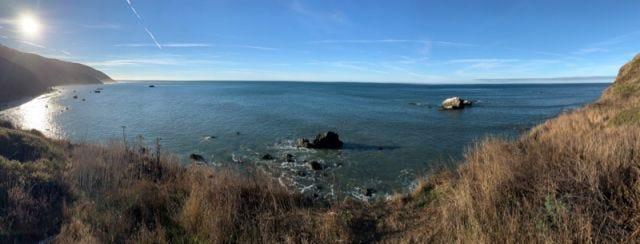 Panoramic shot o along the Lost Coast Trail