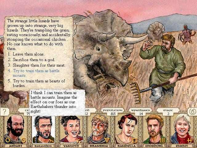 Screenshot from King of Dragon Pass, showing artwork of a farmer running away from a large rhinocerous-like creature in a hay field, and the text of a scenario. Along the bottom are portraits of 7 advisors.