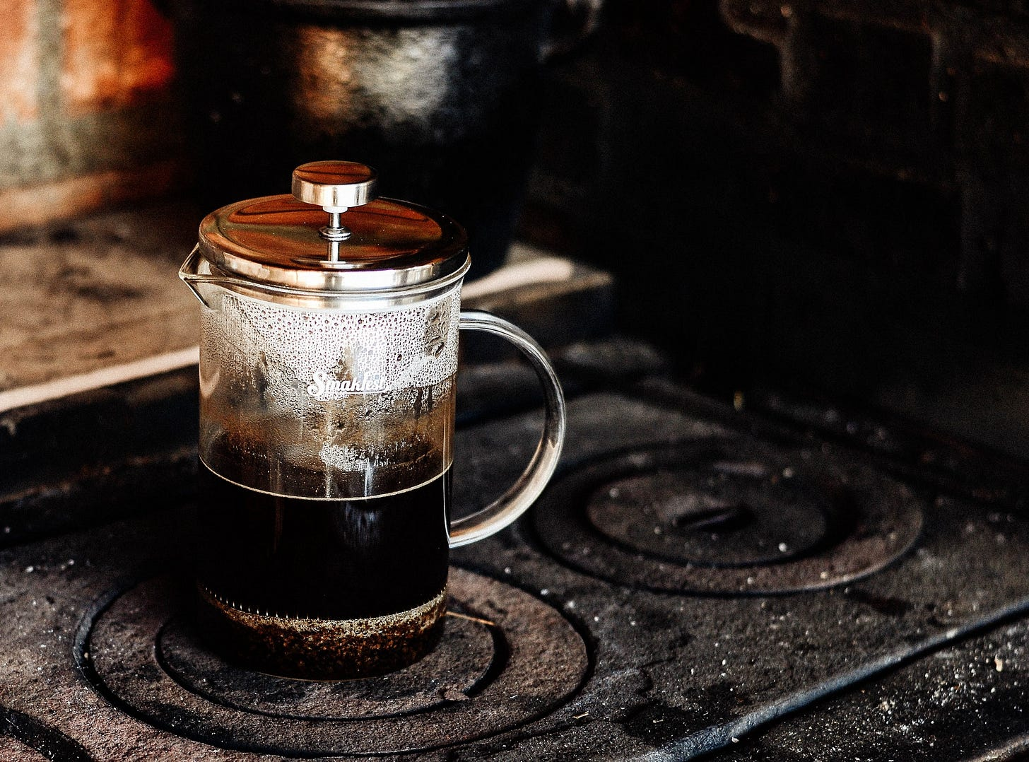 Image of a cafetiere on a stove for article by Larry G. Maguire