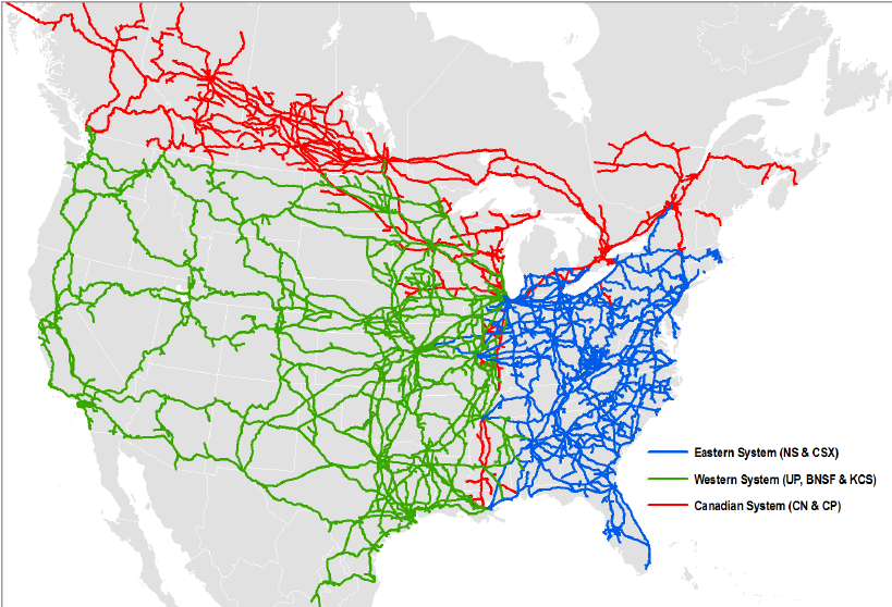 The US rail network. (ResearchGate)
