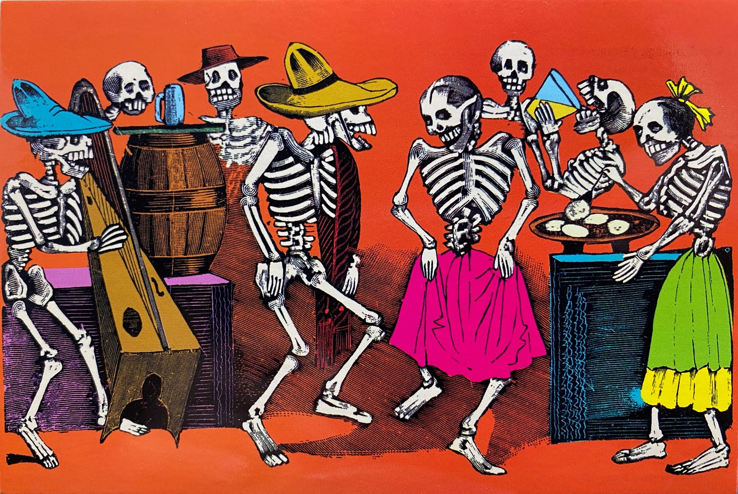 In the forefront, two skeletons, one with a sombrero, another one with a pink skirt, facing each other, dancing. Around them, a skeleton playing Mexican harp, another one cooking tortillas in a comal, other just drinking in the background.