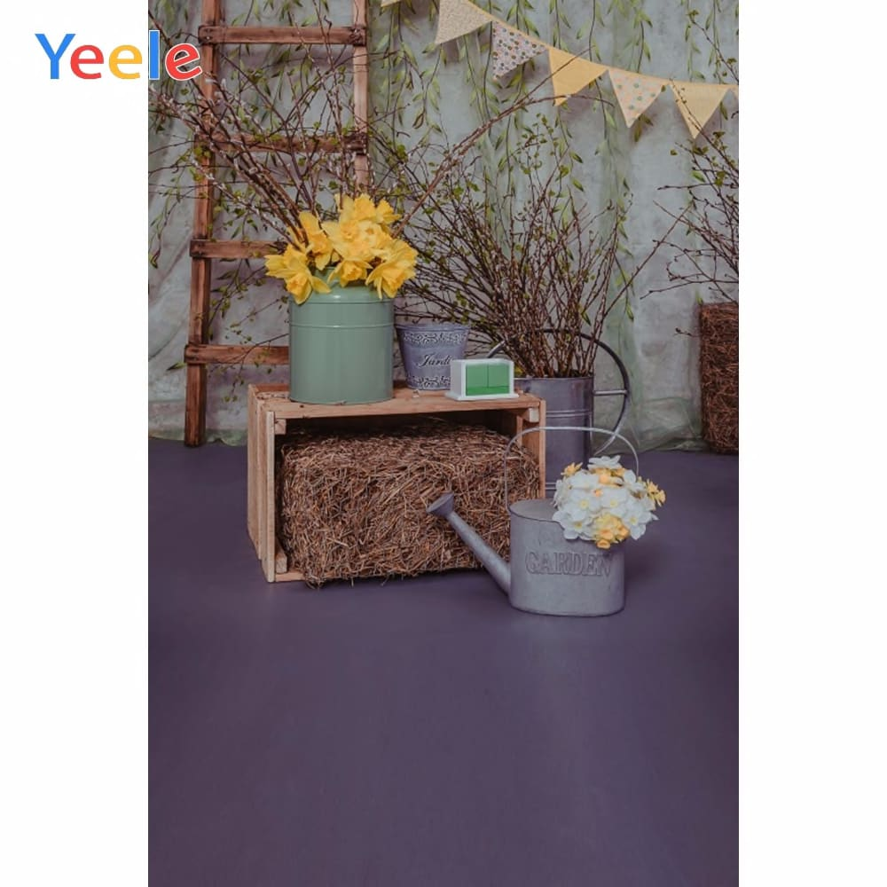 Yeele Hay Flower Easter Photography Backgrounds Customized Spring Vinyl Photographic Backdrops Photo Baby Show Studio Photophone