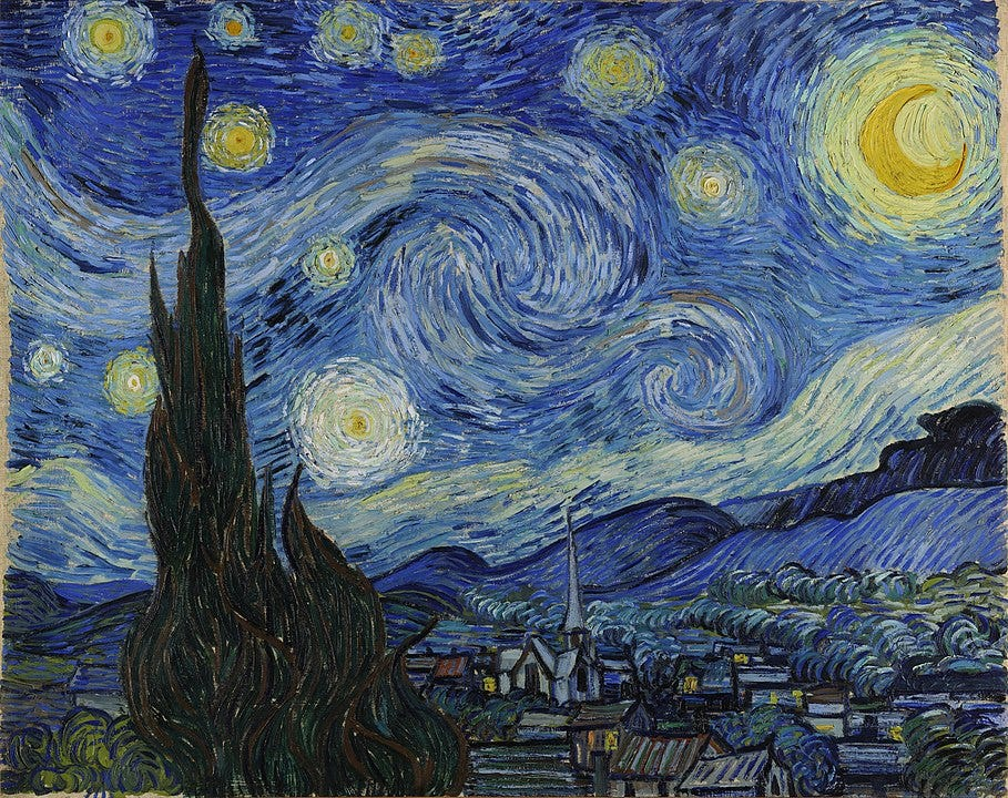 The Starry Night is an oil on canvas painting by Dutch Post-Impressionist painter Vincent van Gogh. Painted in June 1889, it depicts the view from the east-facing window of his asylum room at Saint-Rémy-de-Provence, just before sunrise, with the addition of an imaginary village.[1][2][3] It has been in the permanent collection of the Museum of Modern Art in New York City since 1941, acquired through the Lillie P. Bliss Bequest. Widely regarded as Van Gogh's magnum opus,[4][5] The Starry Night is one of the most recognized paintings in Western art.[6][7] The Starry Night by Vincent van Gogh - bgEuwDxel93-Pg at Google Cultural Institute, zoom level maximum, Public Domain, https://commons.wikimedia.org/w/index.php?curid=25498286