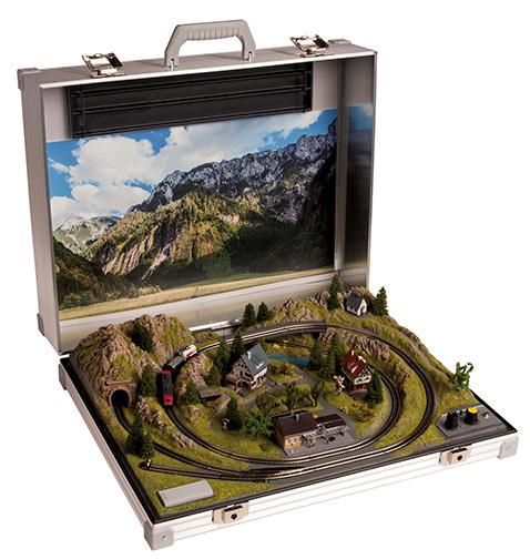 """Summer in the Alps Briefcase Layout with Märklin """"Z"""" Gauge Train Set"""