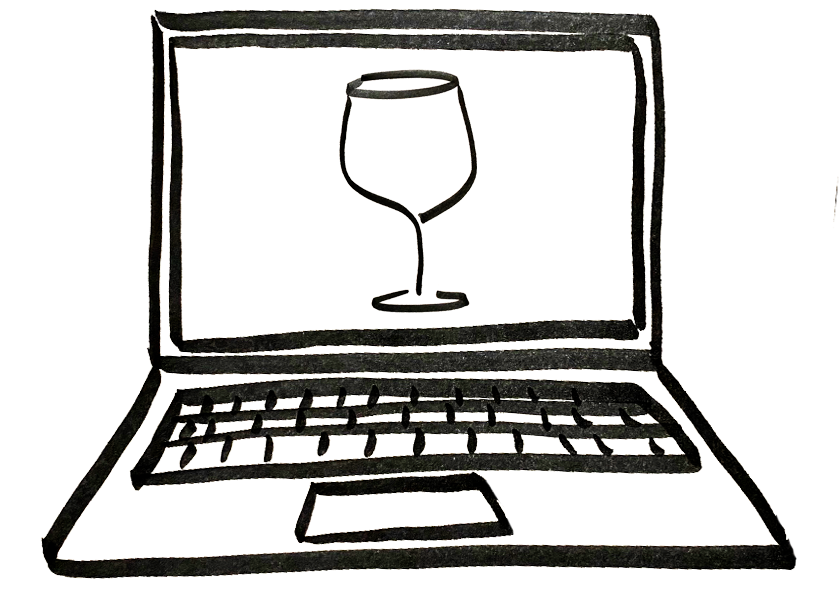 A wine glass on a laptop screen