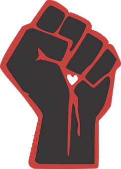 Fist, Love, Heart, Vector, Black, Red