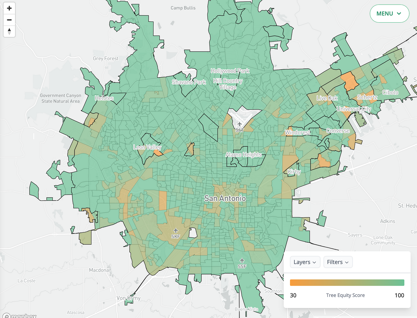 Tree equity map