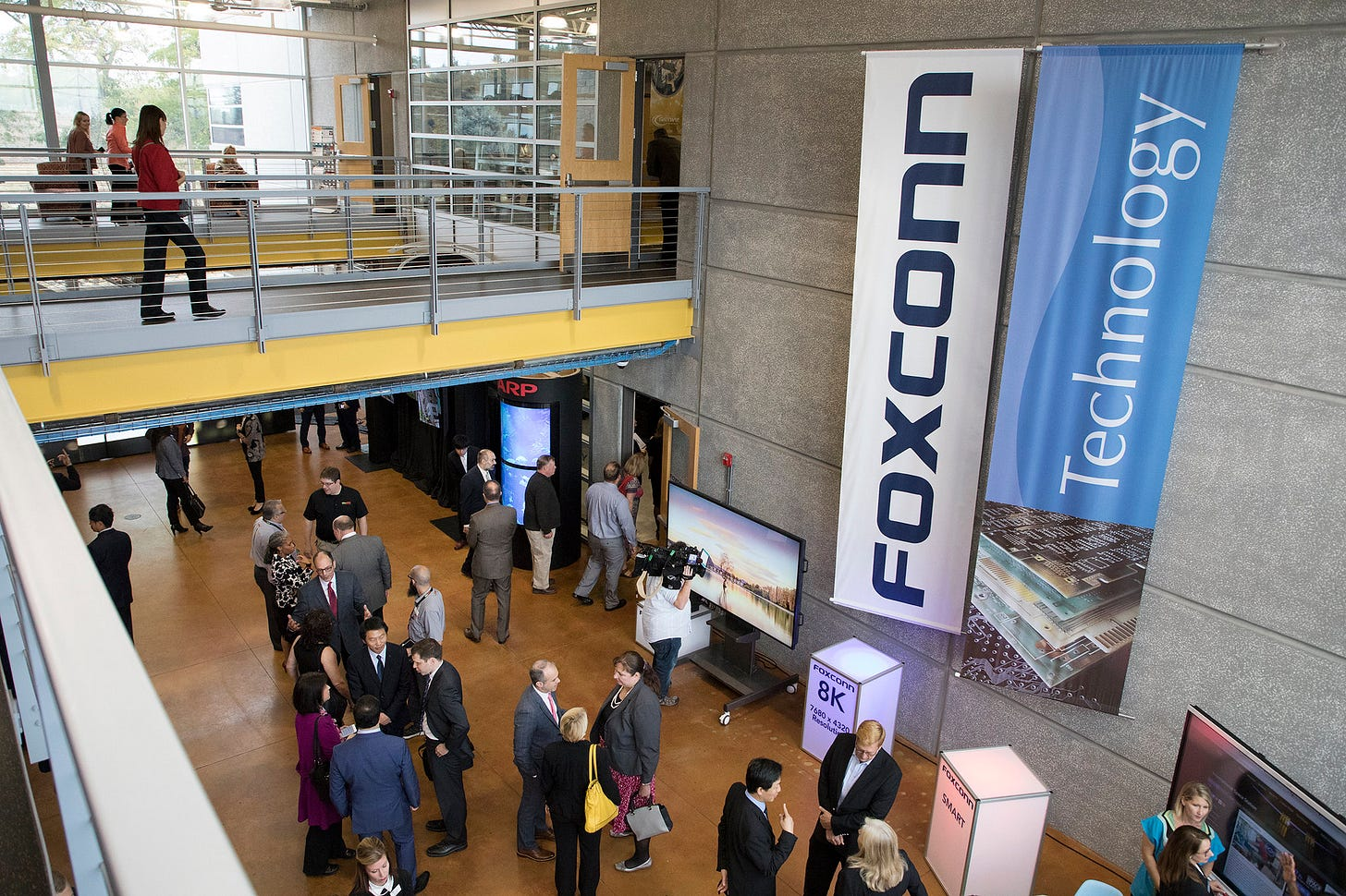 Foxconn banner on wall