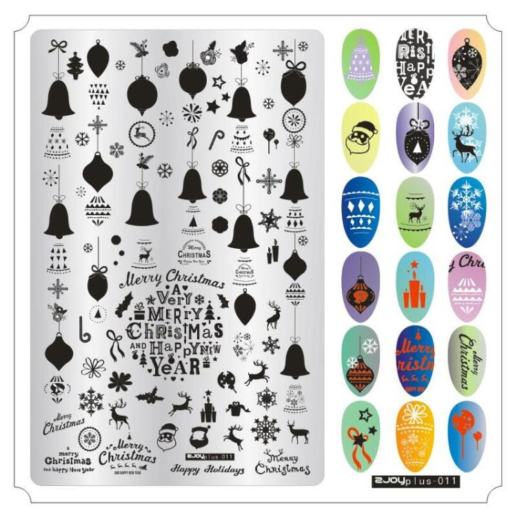 ZJOY Plus Series Nail Stamping Plate Big Size Halloween Christmas Valentine Thanksgiving Celebration Nail Art Image Template