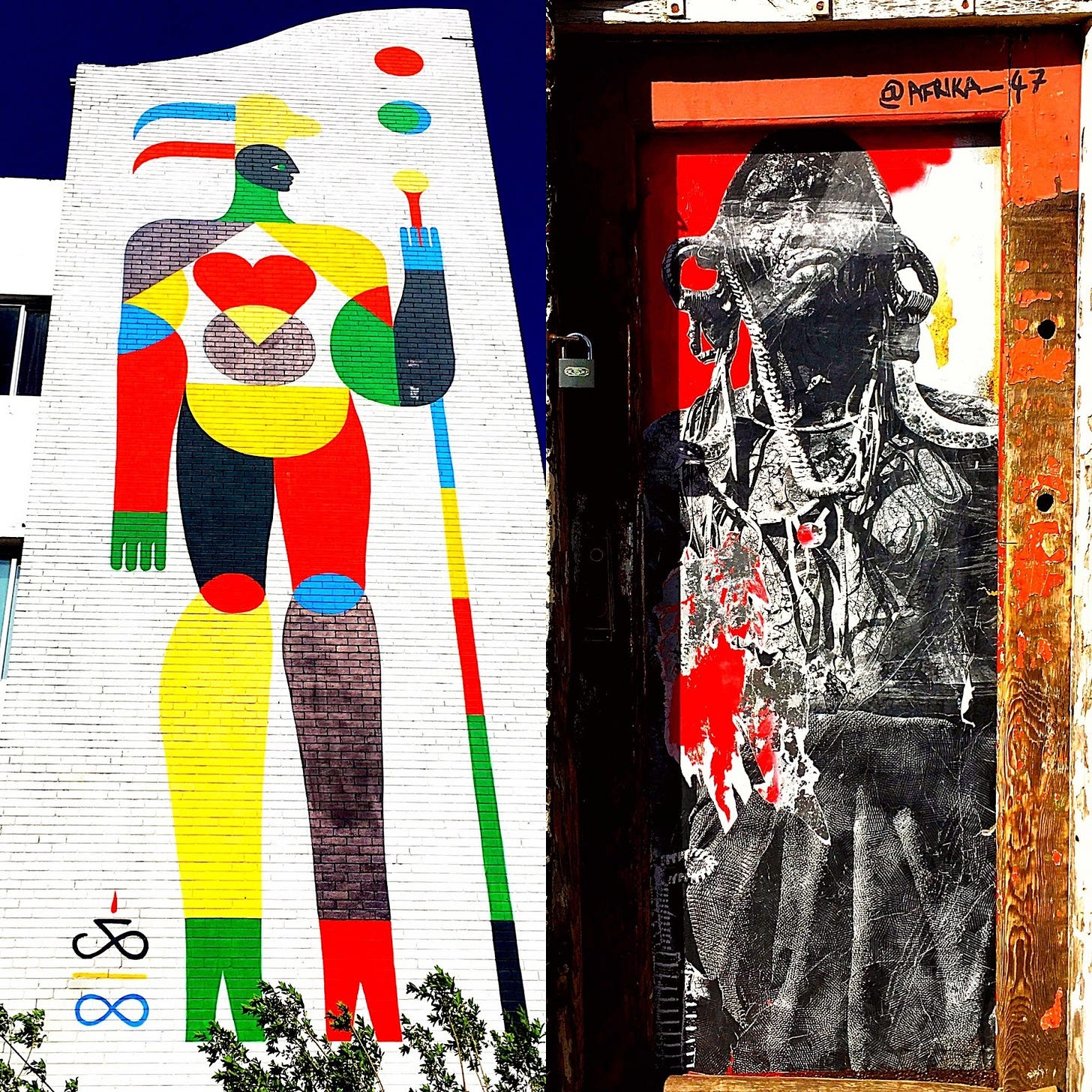 Two colorful murals