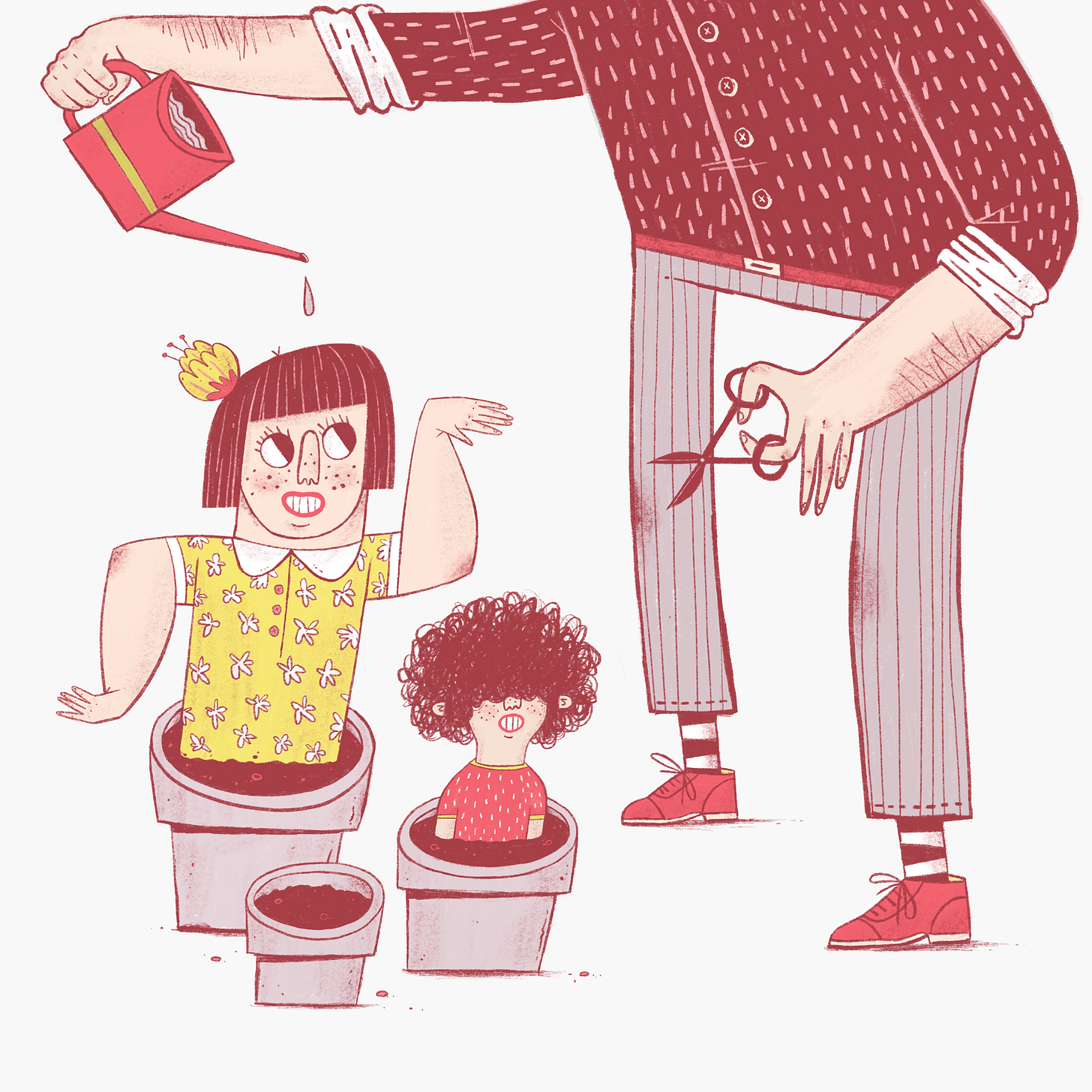 A father waters two plant pots, as his two children sit inside them, the girl smiles and holds her arms like a cactus.