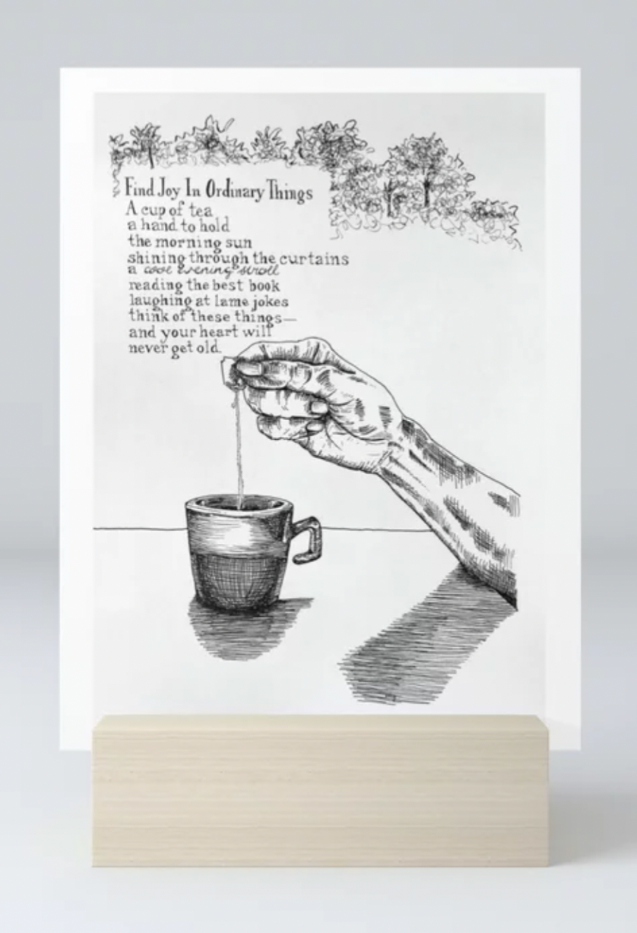 Find Joy In Ordinary Things poem with line illustration Mini Art Print