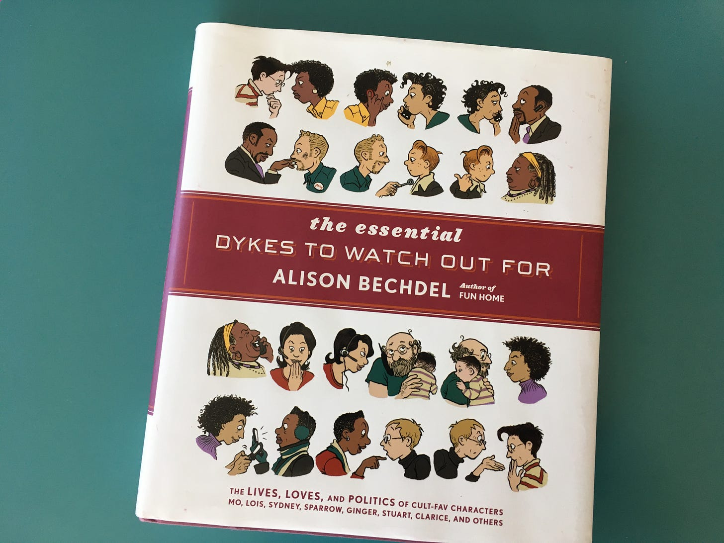 Photo of the hard cover copy of Alison Bechdel's The Essential Dykes to Watch Out For