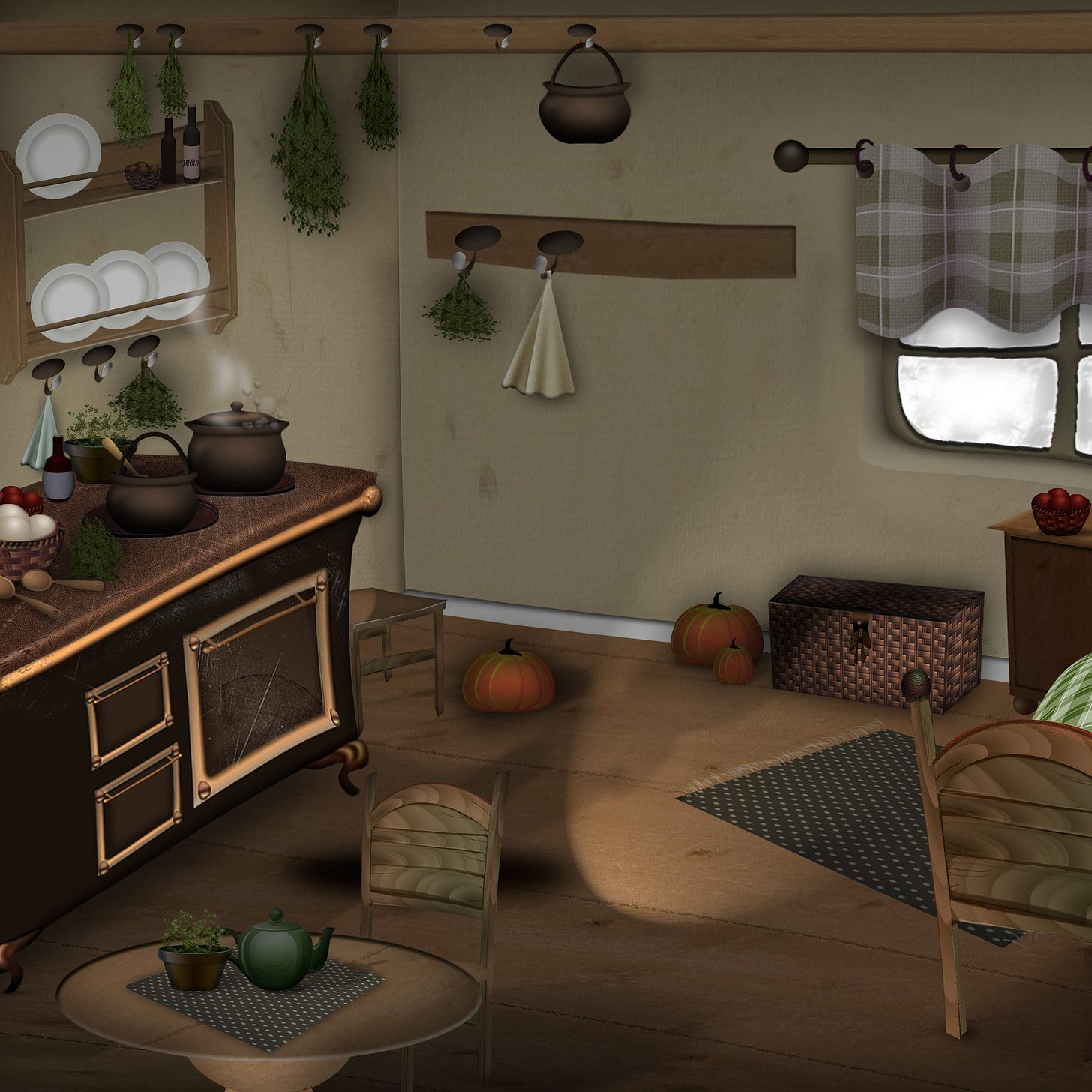 Illustration of a one bedroom cottage with a fairytale like quality with breakfast cooking in the stove.