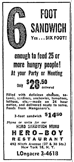 """Advertisement for Hero-Boy Restaurant. Main text advertises a six-foot sandwich, """"enough to feed 25 or more hungry people,"""" for $28.50."""
