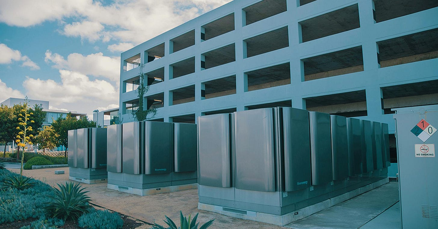 Powered Up: This Bloom installation at La Jolla Commons in San Diego generates about 5 million kilowatt hours of electricity per year.