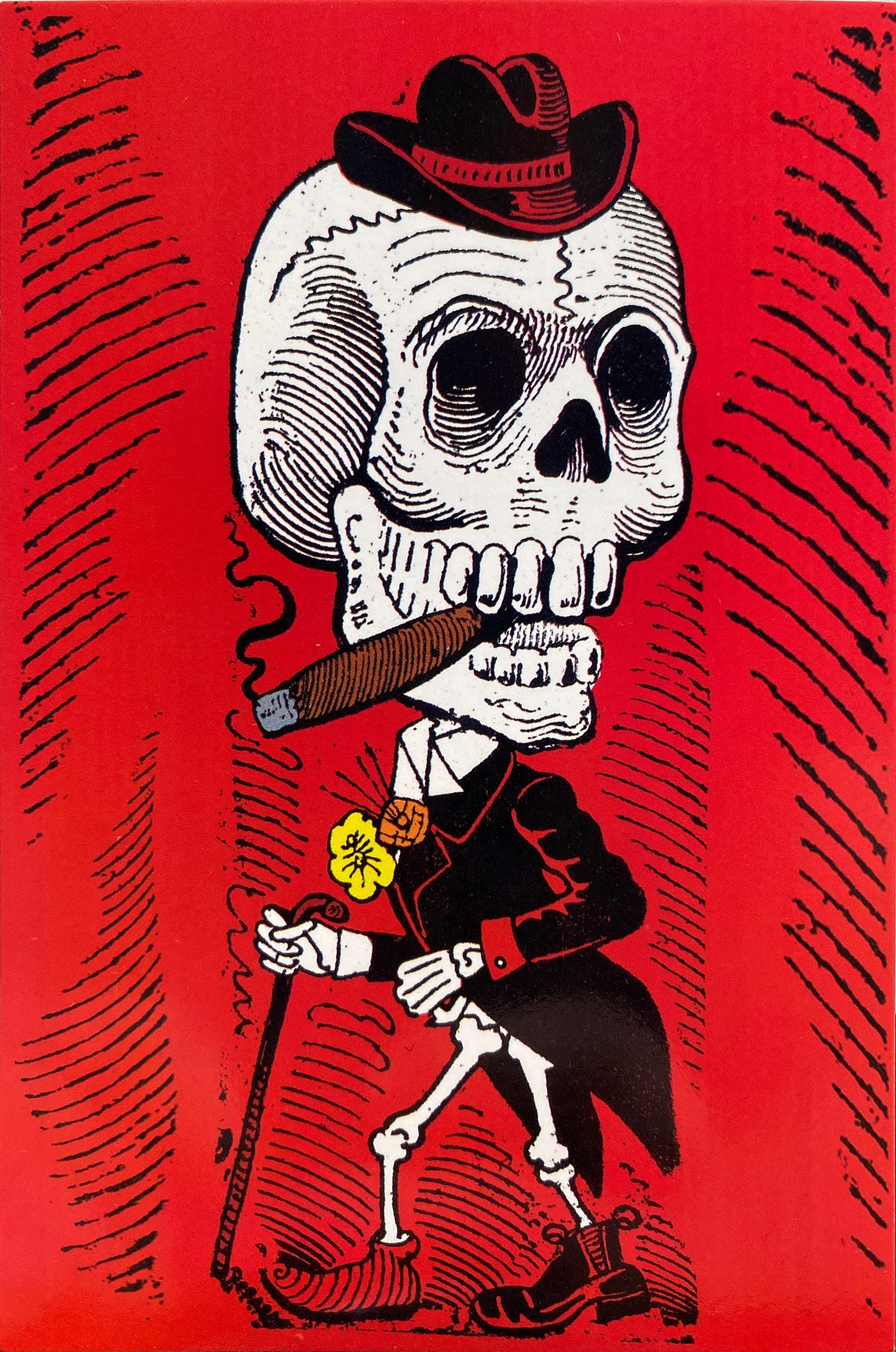 A skeleton standing, wearing an elegant frock with a flower on their lapel and a hat on their head. The skeleton doesn't have pants but wears shoes and a cane. Their cranium is as large as their body.