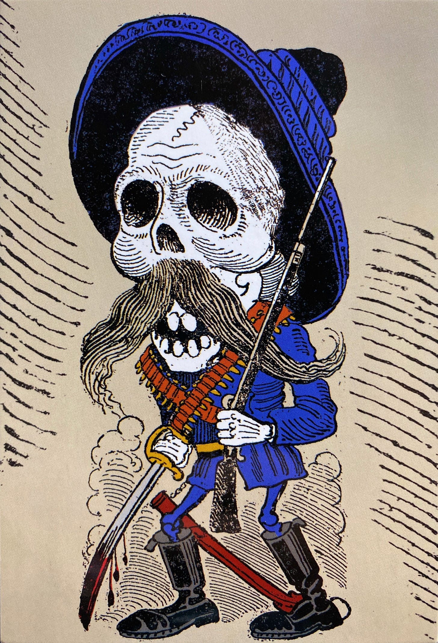 A depiction of Emiliano Zapata, Mexican caudillo, as a skeleton. It has the iconic hat of the revolutionary era, while carrying a sword with blood in his right hand and a musket in his left one.