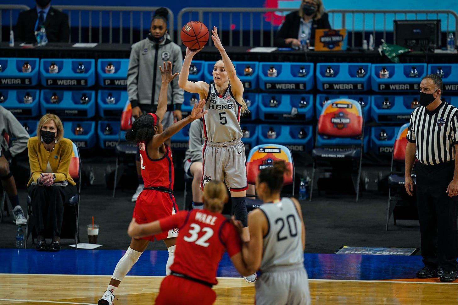 Paige Bueckers rises up for a shot during UConn's Final Four contest against Arizona. (Photo courtesy of Uconn women's basketball via Twitter)