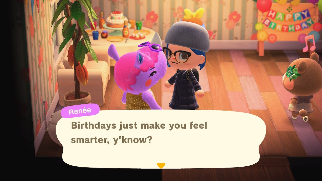"""A screenshot from Animal Crossing: New Horizons, in which Renée the rhino tells my avatar that """"birthdays just make you feel smarter, y'know?"""""""