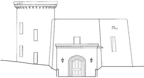 """An architectural rendering submitted by the Water Gardens Trust to a review board in Santa Fe, N.M. """"It is a medieval castle and I don't understand how we could possibly approve it in its style,""""a member of the board said."""
