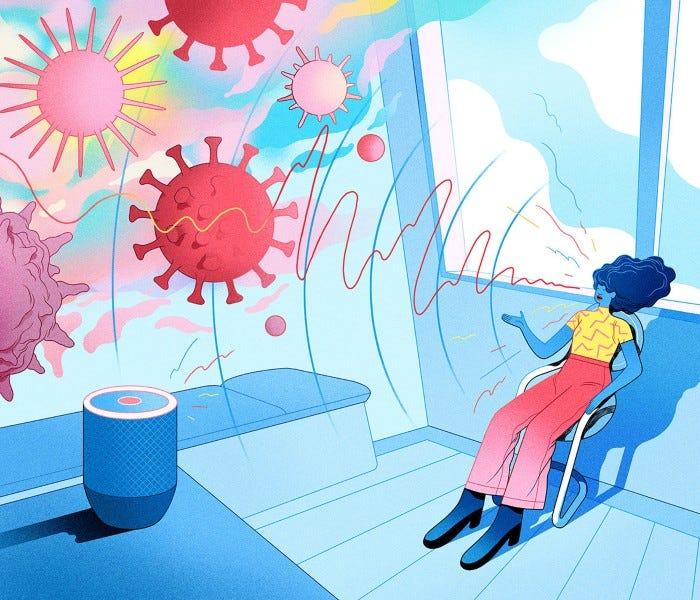Cartoon of a smart speaker listening to a woman's voice with the sound waves turning into virus particles