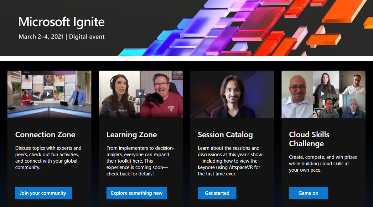 Snapshot screenshot of the main Microsoft Ignite website home page - highlighting much of the people and content you can expect from the event this year.