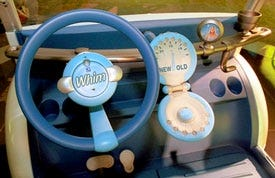 The Whim's dashboard, which features a gas gauge that lets drivers know when to discard the car.
