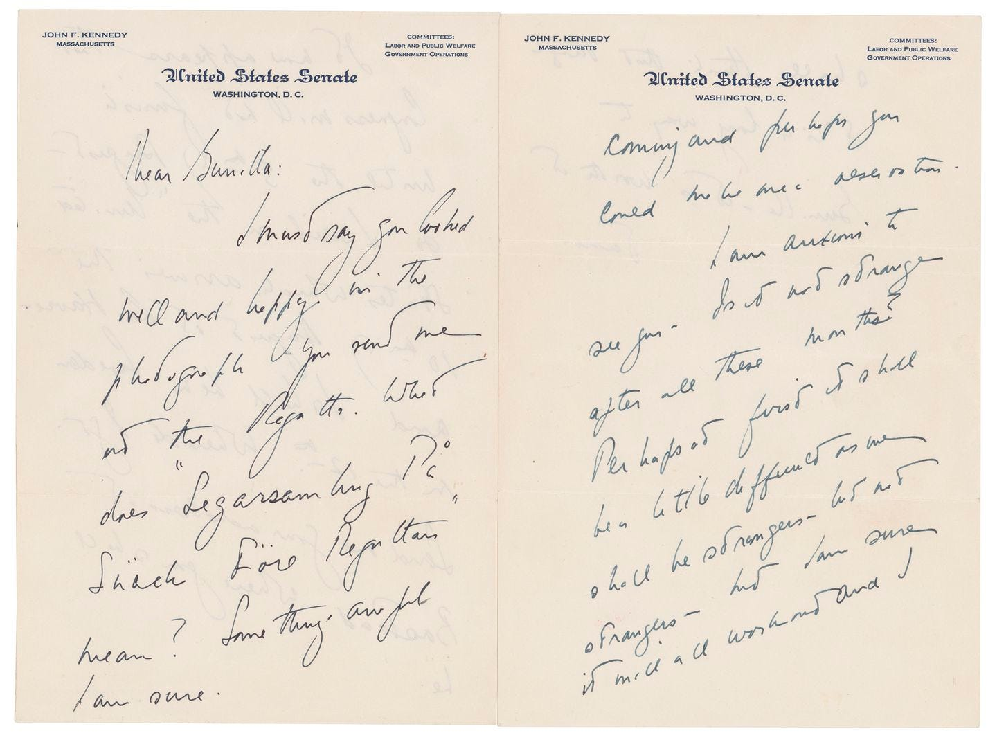 A love letter that John F. Kennedy wrote to a Swedish paramour a few years after he married Jacqueline Bouvier.