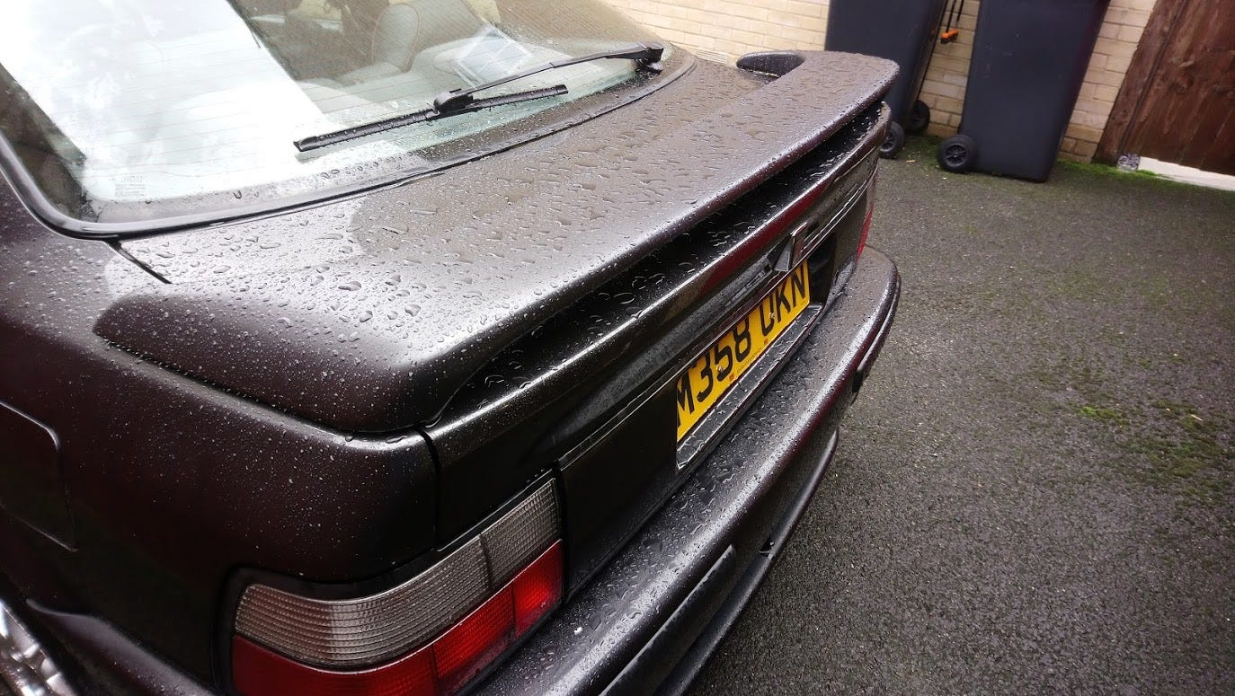 Rover 220 Coupe Spoiler (freshly painted with spots of rain on it)