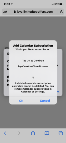 iOS alert to obtain consent to add the calendar