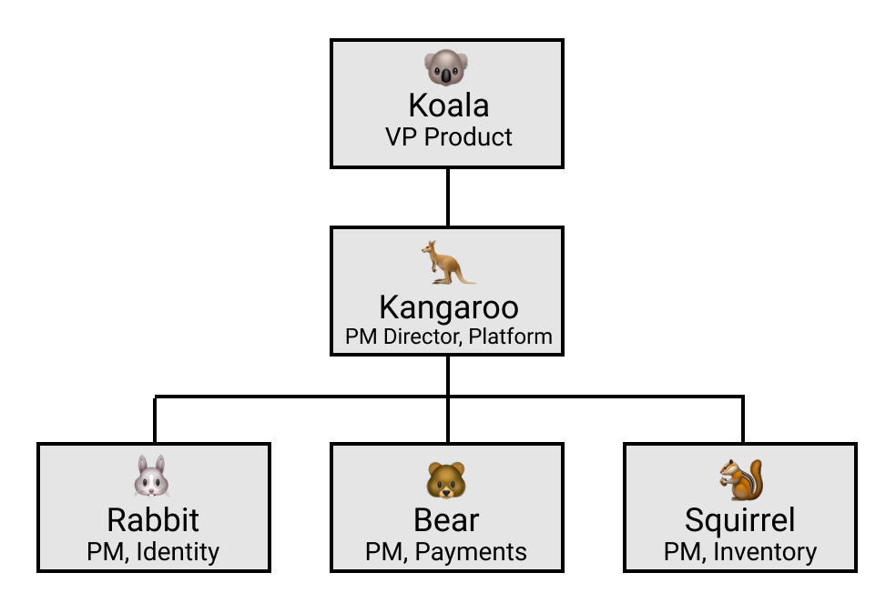 Org chart showing Koala (VP of Product), Kangaro (PM Director) and Rabbit/Bear/Squirrel (PMs)