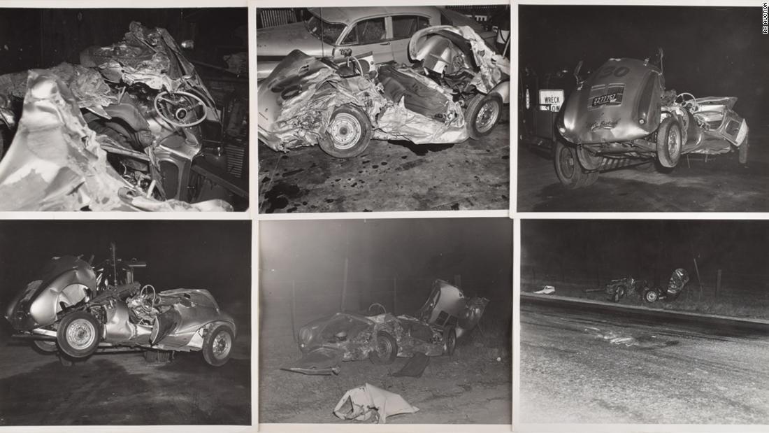 Wreckage of Porsche