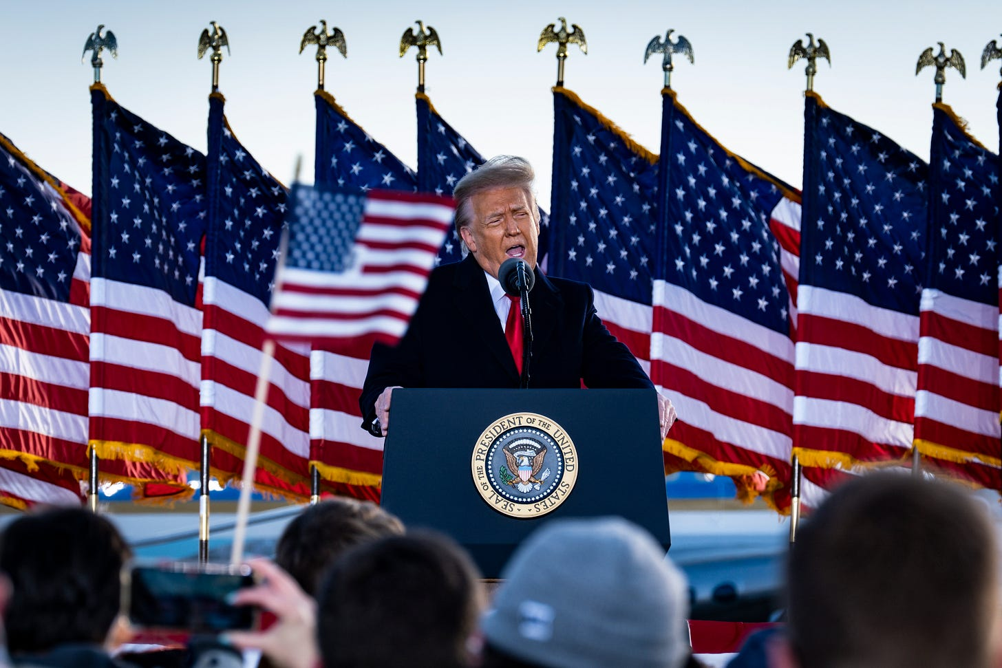 Donald Trump speaks to supporters at Joint Base Andrews for his last time as President on Wednesday. (Pete Marovich / Getty Images)