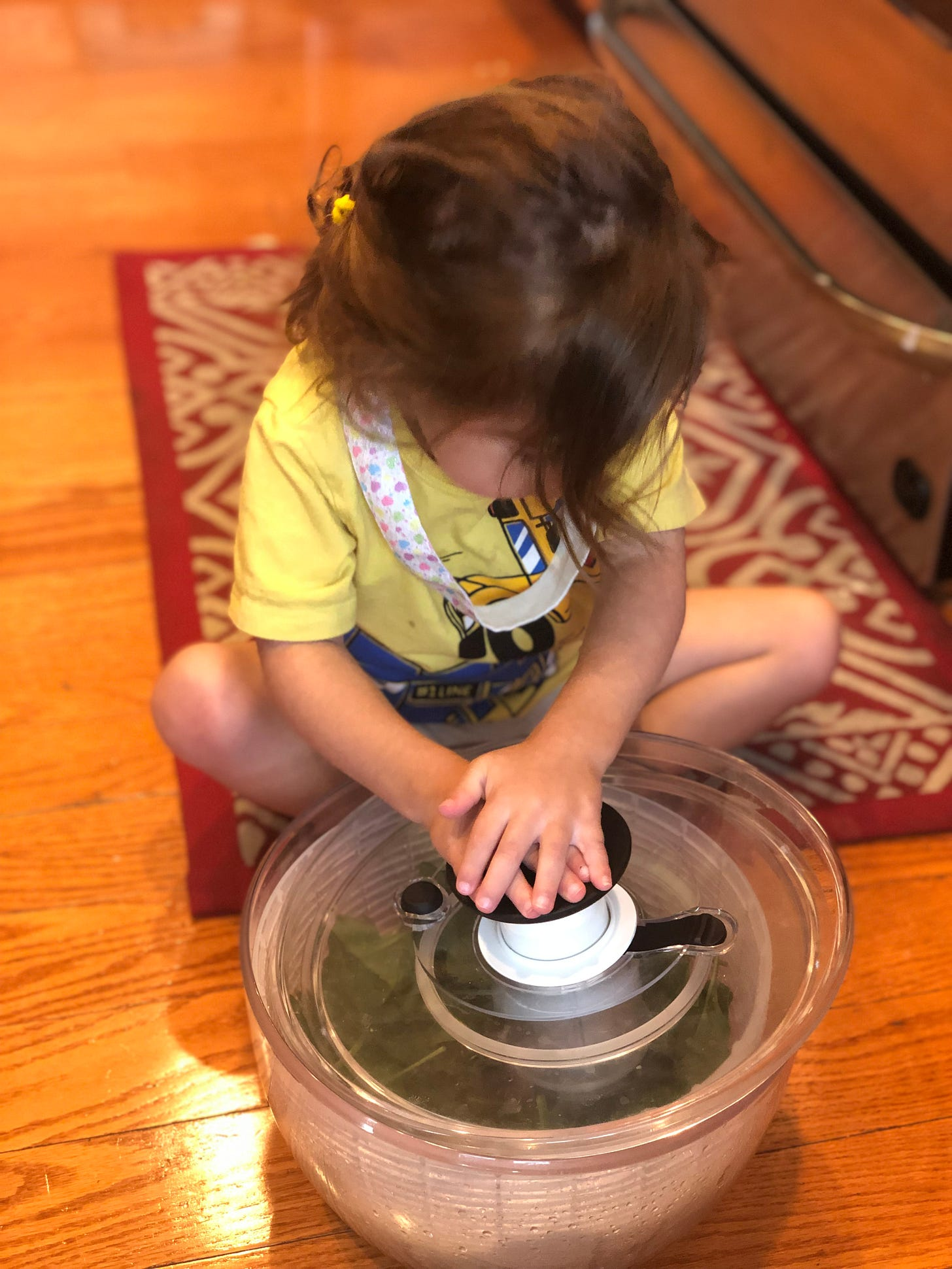 Photo of brown haired toddler pushing down on a salad spinner.