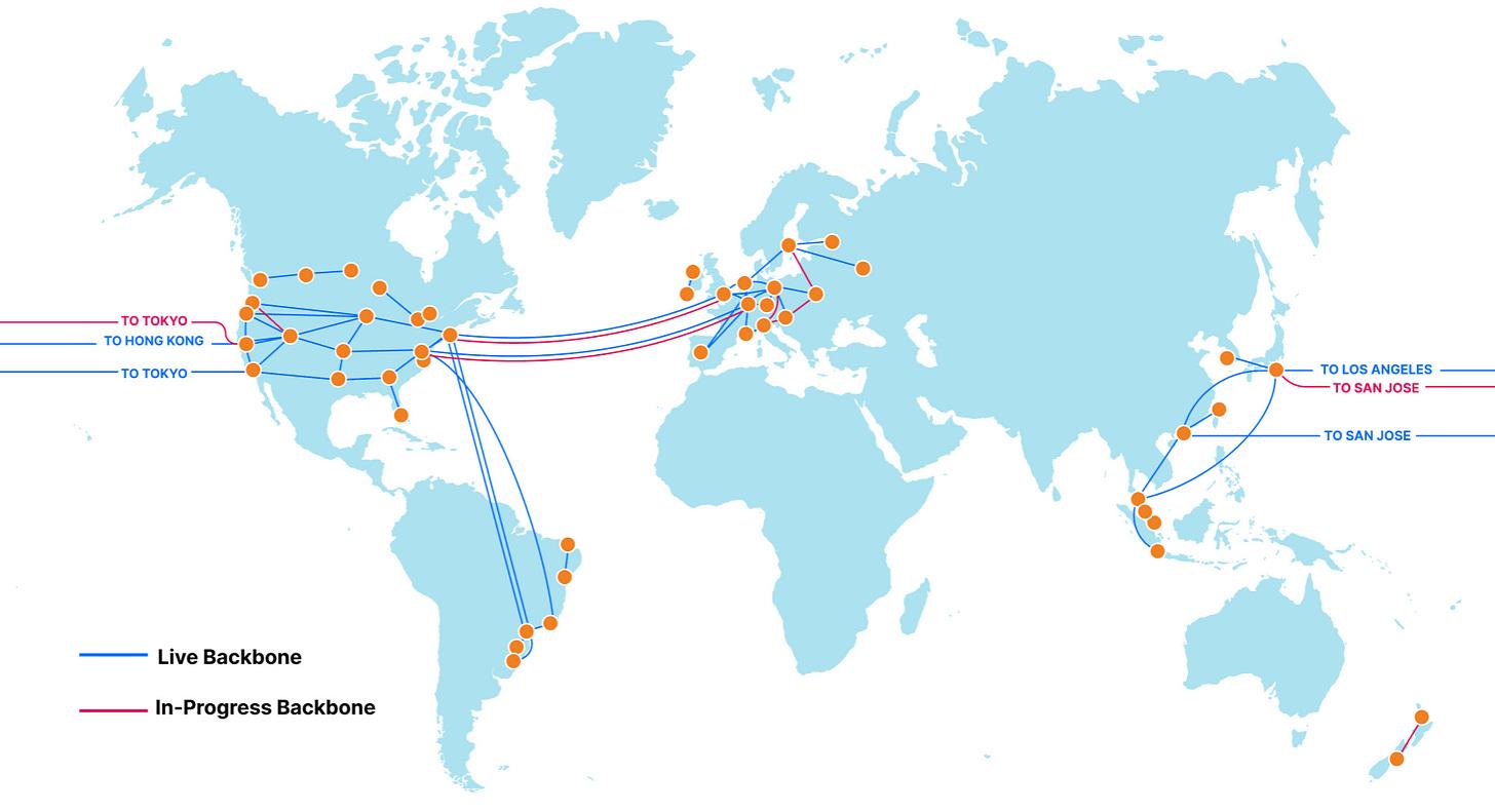 A map of Cloudflare's global long-haul backbone.