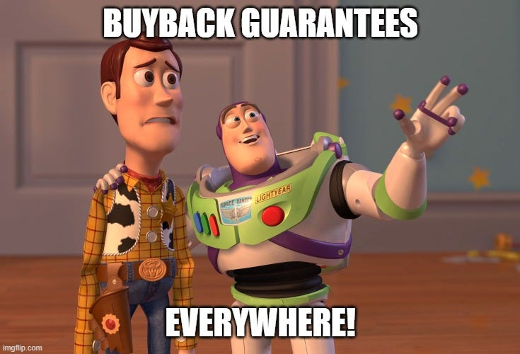 X, X Everywhere Meme |  BUYBACK GUARANTEES; EVERYWHERE! | image tagged in memes,x x everywhere | made w/ Imgflip meme maker