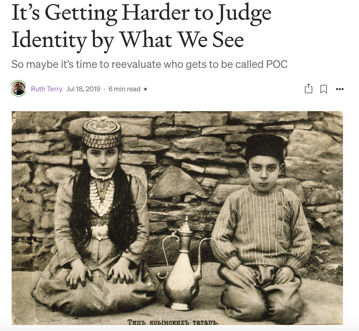 Screenshot of article header with picture of two Crimean Tatar children in traditional dress.