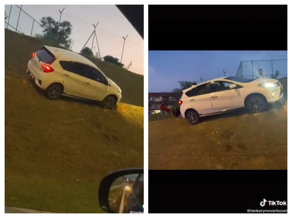 The Myvi going over the road divider and uphill a slope has impressed many with its 'flying' abilities. — Screengrab via TikTok/tankeryrvoverboost