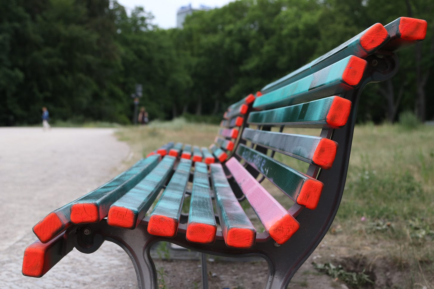 Colorful park bench