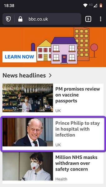 BBC News Website Screen Capture