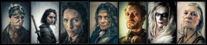 Portraits of 7 of the characters featured in the Bad Choices Project.